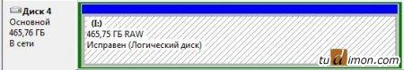 Управление дисками, диск RAW