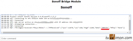 Консоль Sonoff RF bridge с альтернативной прошивкой Tasmota