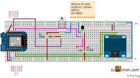 Схема подключения Wemos d1 mini + OLED SSD1306 + DS18B20 + DHT22