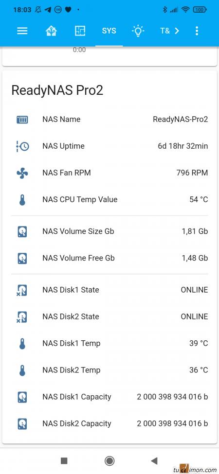 Сенсоры NAS NetGear ReadyNAS Pro2 в Home Assistant с помощью SNMP