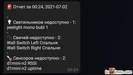 Уведомление в Телеграм если какой-то из сенсоров Home Assistant перешел в состояние недоступен